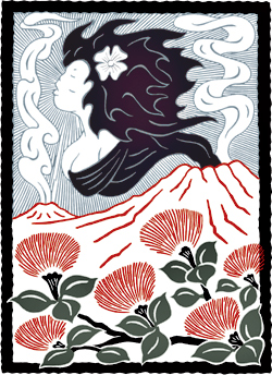 Artist rendering of Pele, volcanoes, and lehua blossoms