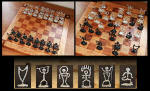 Hawaiian Metal Petroglyph Chess Pieces